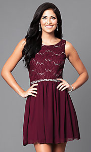 Image of short lace bodice sleeveless homecoming dress.  Style: SS-d65242hjl Detail Image 1