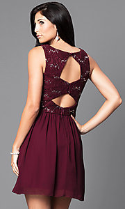 Image of short lace bodice sleeveless homecoming dress.  Style: SS-d65242hjl Back Image