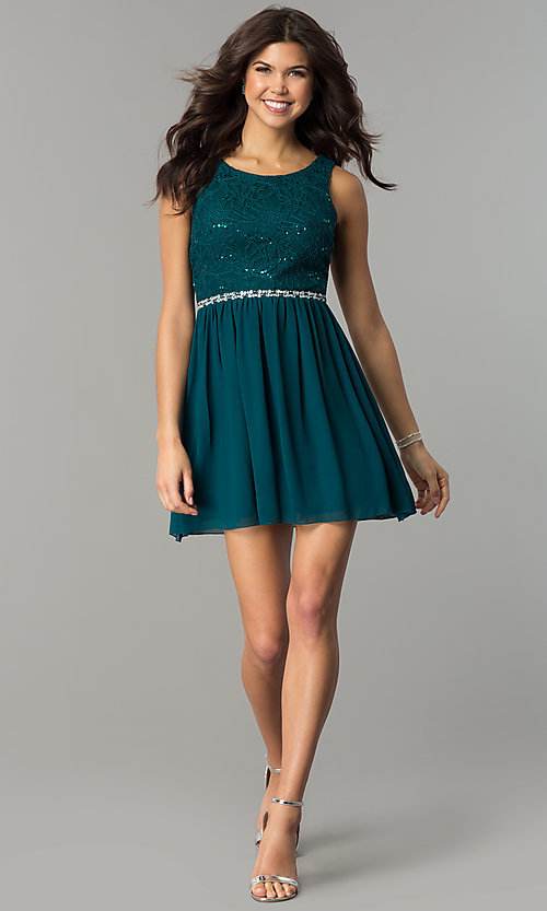 Image of short lace bodice sleeveless homecoming dress.  Style: SS-d65242hjl Detail Image 3
