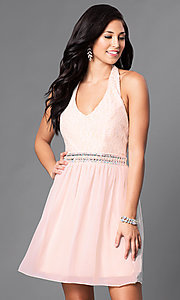 V-Neck Blush Pink Short Halter Homecoming Dress
