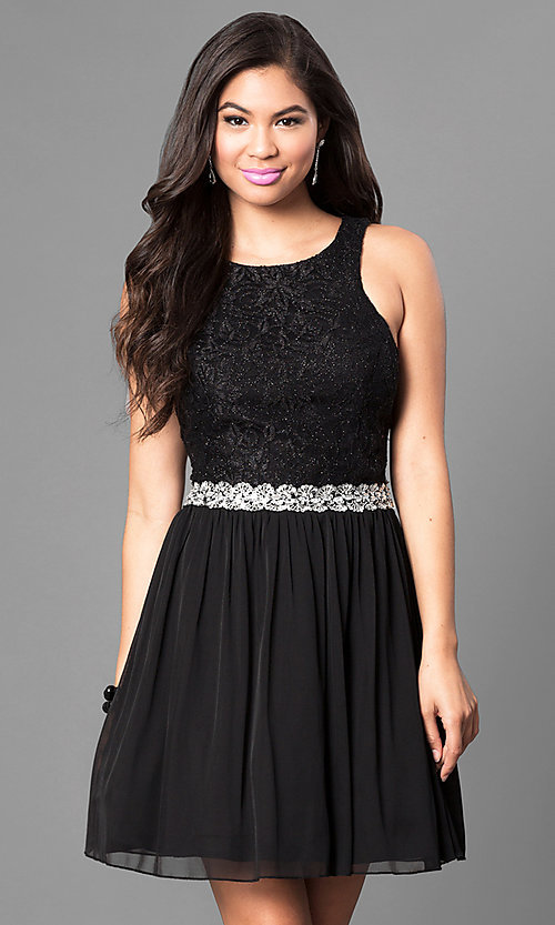 Image of black glitter-lace bodice homecoming dress. Style: SS-x34001hvu Front Image