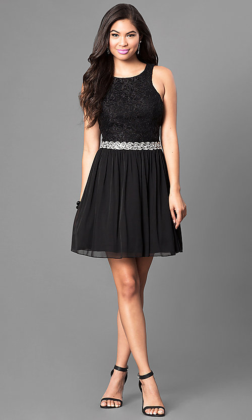 Image of black glitter-lace bodice homecoming dress. Style: SS-x34001hvu Detail Image 1