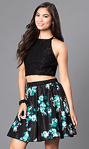 Image of two-piece print party dress with glitter-lace top. Style: SS-x90112w48 Front Image