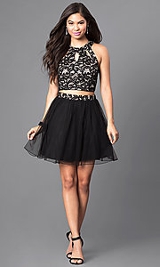Image of short black and nude two-piece homecoming dress. Style: SS-x90202h232 Detail Image 1