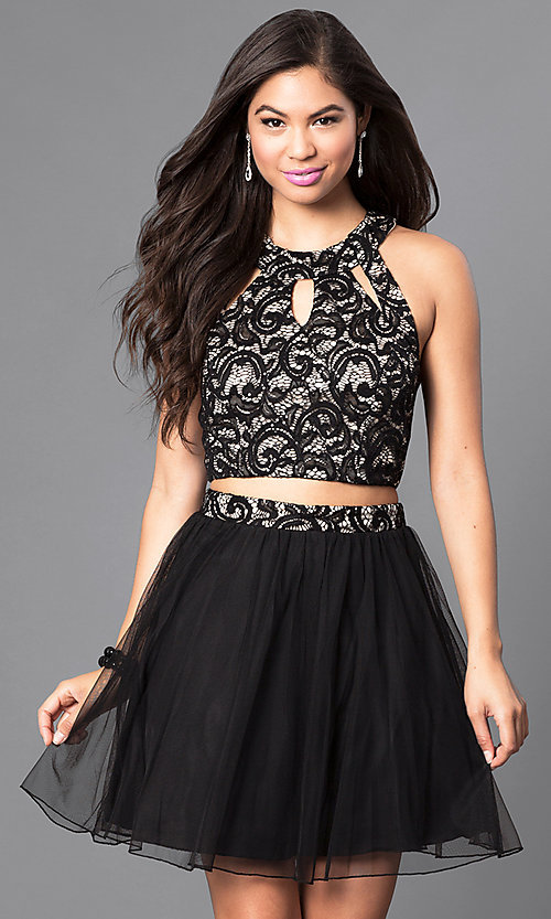 Image of short black and nude two-piece homecoming dress. Style: SS-x90202h232 Front Image