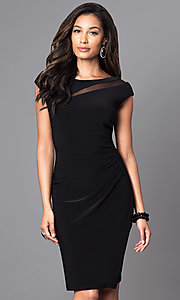 Image of knee-length black cap-sleeve day-to-night dress. Style: SD-S276790 Front Image