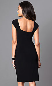 Image of knee-length black cap-sleeve day-to-night dress. Style: SD-S276790 Back Image