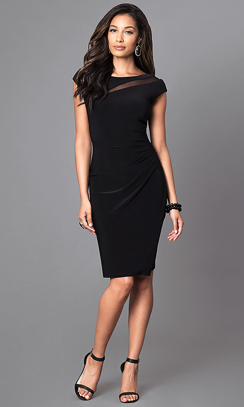 Image of knee-length black cap-sleeve day-to-night dress. Style: SD-S276790 Detail Image 1
