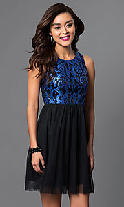 Blue Sequined-Bodice Short Homecoming Dress