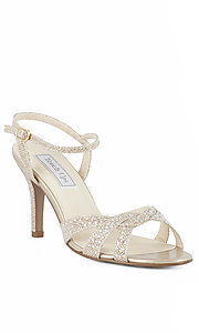 Open Toe Gold Prom Shoes with 2 5/8