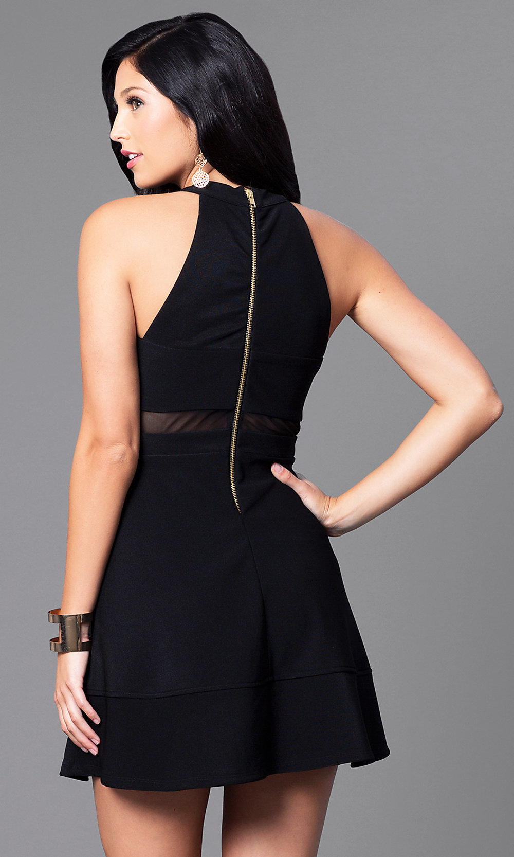 High Neck A Line Black Party Dress Promgirl