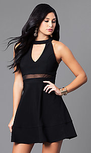 Black A-Line High-Neck Party Dress