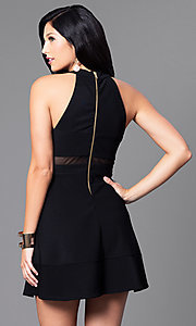 Image of black a-line high-neck party dress. Style: EM-EVS-1027-001 Back Image