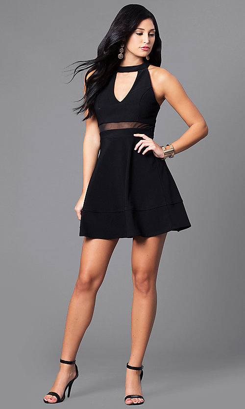 Image of black a-line high-neck party dress. Style: EM-EVS-1027-001 Detail Image 1