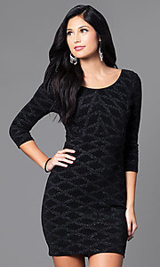 Image of short black glitter and sequin mini party dress with sleeves. Style: EM-EUI-2785-001 Front Image