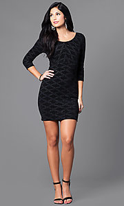 Image of short black glitter and sequin mini party dress with sleeves. Style: EM-EUI-2785-001 Detail Image 1