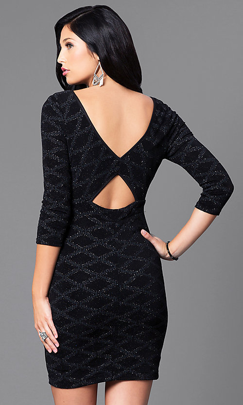 Image of short black glitter and sequin mini party dress with sleeves. Style: EM-EUI-2785-001 Back Image