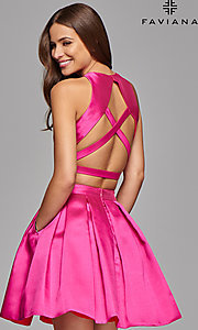 Image of two-piece homecoming dress with open back by Faviana. Style: FA-7858 Back Image