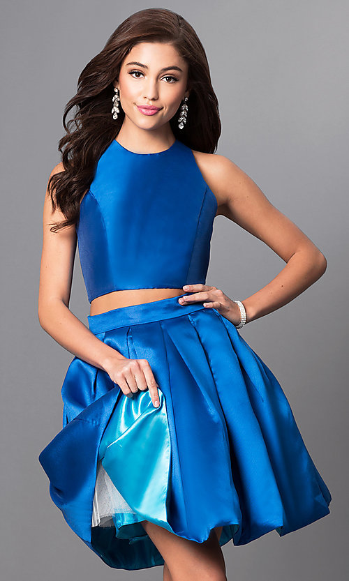 Image of two-piece homecoming dress with open back by Faviana. Style: FA-7858 Detail Image 2