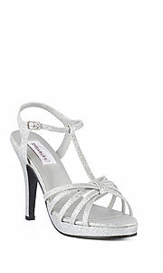 Strappy Open Toe Silver Prom Shoes