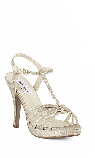 Open Toe Glitter Strappy Prom Shoes