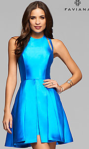Faviana High-Neck Open-Back Short Homecoming Dress