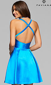 Image of Faviana high-neck open-back short homecoming dress. Style: FA-7859 Back Image