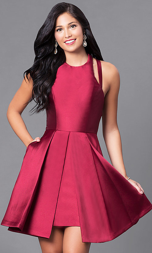 Image of Faviana high-neck open-back short homecoming dress. Style: FA-7859 Detail Image 3