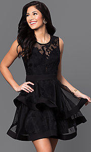 Image of deep v-neck illusion-lace horsehair-hem short dress Style: INA-IDA70495 Front Image