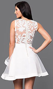 Image of deep v-neck illusion-lace horsehair-hem short dress Style: INA-IDA70495 Back Image