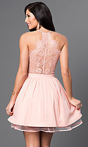 Image of short v-neck lace-back dress Style: INA-IDA70613 Back Image