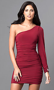 Image of short cranberry red one-sleeve homecoming dress. Style: EM-EUV-1061-580 Front Image