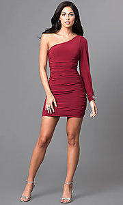 Image of short cranberry red one-sleeve homecoming dress. Style: EM-EUV-1061-580 Detail Image 1