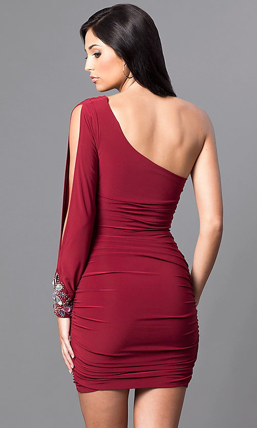 Image of short cranberry red one-sleeve homecoming dress. Style: EM-EUV-1061-580 Back Image