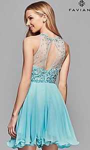 Image of Faviana illusion-sweetheart short homecoming dress. Style: FA-7873 Back Image
