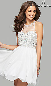 Image of Faviana illusion-sweetheart short homecoming dress. Style: FA-7873 Detail Image 2
