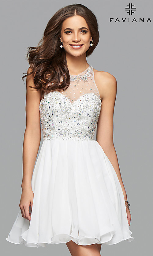 Image of Faviana illusion-sweetheart short homecoming dress. Style: FA-7873 Detail Image 1