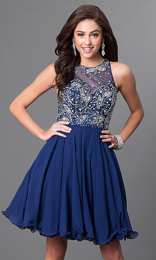 Image of Faviana illusion-sweetheart short homecoming dress. Style: FA-7873 Detail Image 3