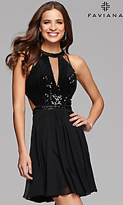 Short Black Open Back Homecoming Dress by Faviana