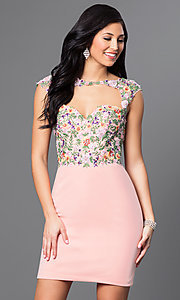 Open-Back Short Embroidered-Lace Homecoming Dress