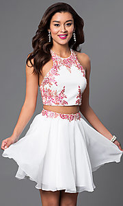 Short Two-Piece Chiffon Party Dress with Appliques