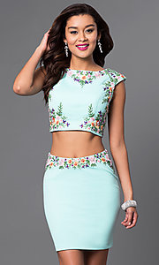 Two Piece Short Embroidered Pencil Skirt Dress