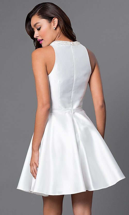 Image of short party dress with high-neck jeweled collar. Style: FB-GS1441 Back Image