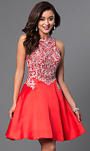 Image of high-neck a-line embellished short party dress. Style: FB-GS1442 Front Image