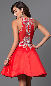 Image of high-neck a-line embellished short party dress. Style: FB-GS1442 Back Image