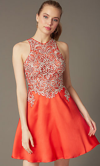 High-Neck A-Line Embellished Short Party Dress