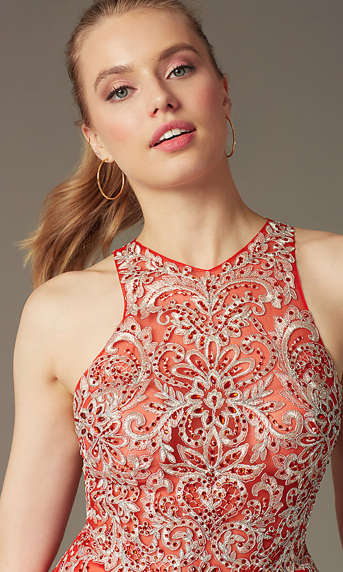 Image of high-neck a-line embellished short party dress. Style: FB-GS1442 Detail Image 1