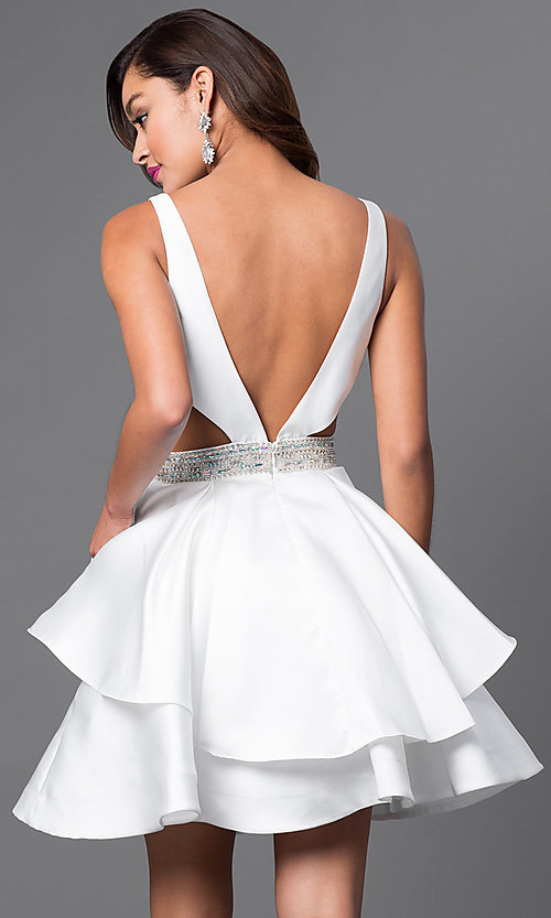 Image of v-neck short tiered v-back dress. Style: FB-GS1447 Back Image