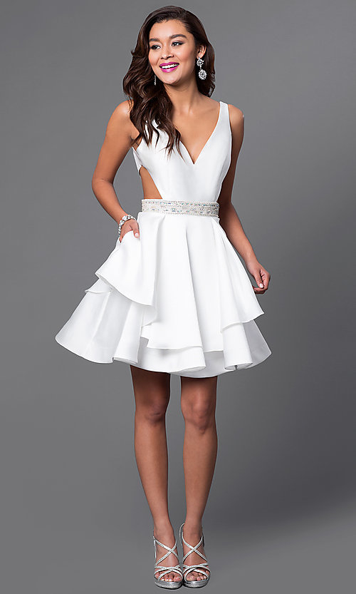 Image of v-neck short tiered v-back dress. Style: FB-GS1447 Detail Image 1