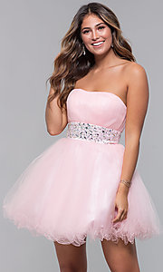 Image of strapless short babydoll party dress with corset. Style: FB-GS1053 Detail Image 5